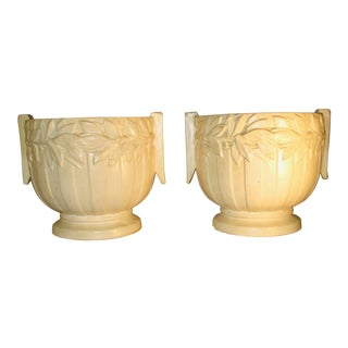 1920s Vintage White Ceramic Planters - A Pair For Sale