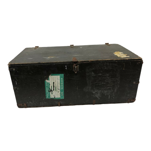 Vintage Industrial Wood Military Foot Locker With Tray For Sale