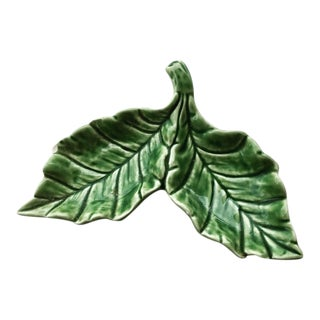 Vintage Cabbage Green Double Salt Dip Dish For Sale