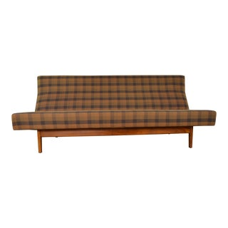 Jens Risom Mid Century Plaid & Walnut Sofa For Sale