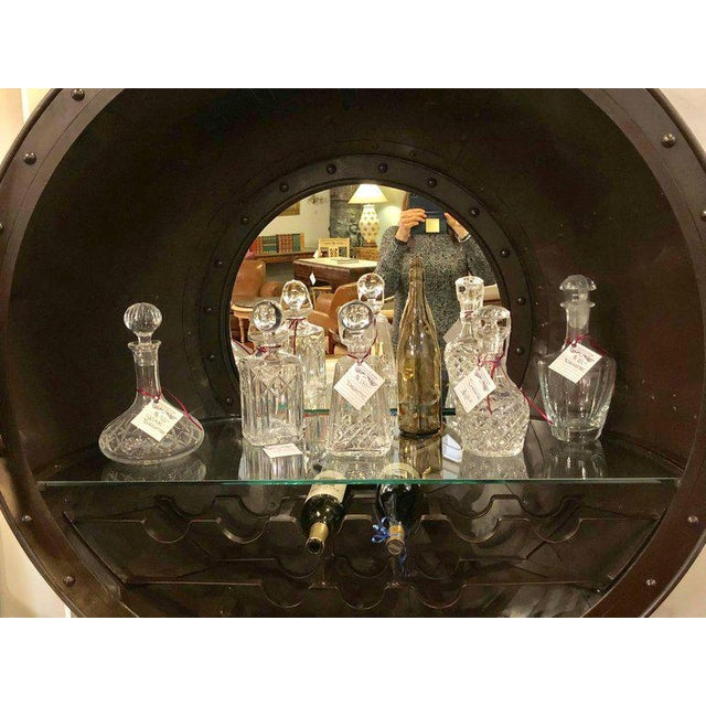 Large and Impressive Industrial Ships Port Hole Bar Cabinet with Mirrored Back For Sale - Image 10 of 12