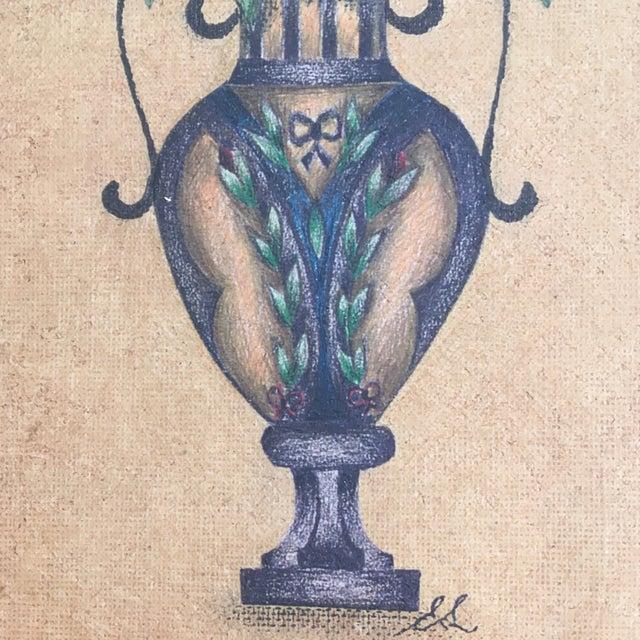 Vintage Flowers In Vase Color Pencil Sketch In Gilt Frame Chairish