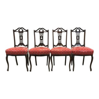 1960s Art Deco Scarlet Vinyl and Wood Dining Chairs - Set of 4