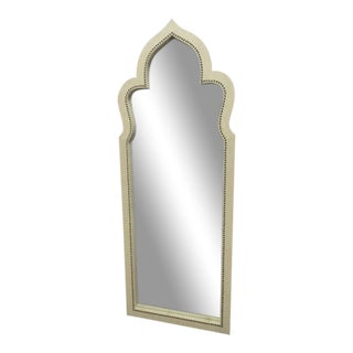 Linen Wrapped Moroccan Style Leaning Mirror With Nailheads For Sale