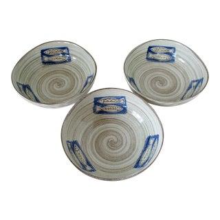 Japanese Artisan Bowls, Set of 3 For Sale