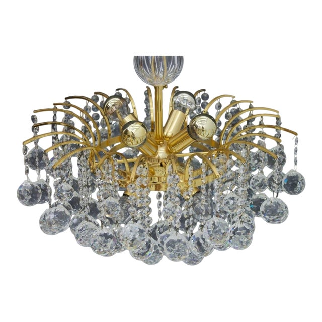 Christoph Palme Chandelier Gilded Brass and Crystal Glass For Sale