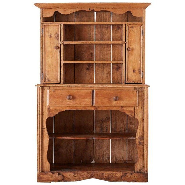19th Century English Pine Cupboard Dresser With Rack For Sale - Image 13 of 13