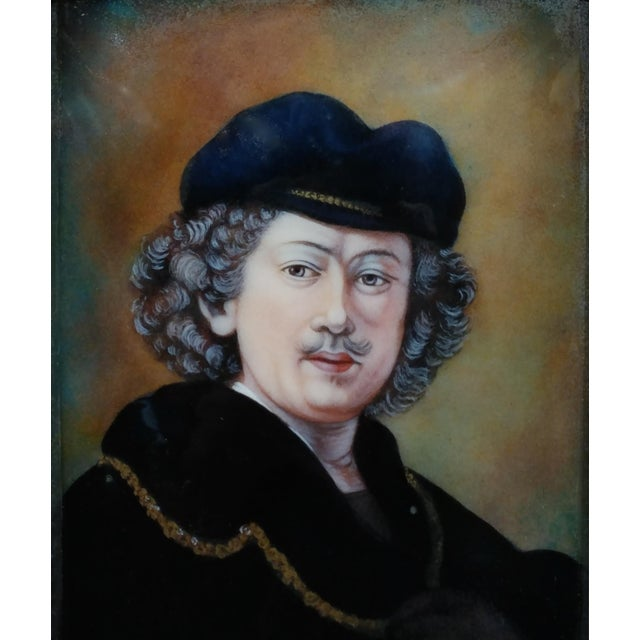 Faure Limoges - Rembrandt Self Portrait - French Enamel Painting on Copper For Sale - Image 9 of 9