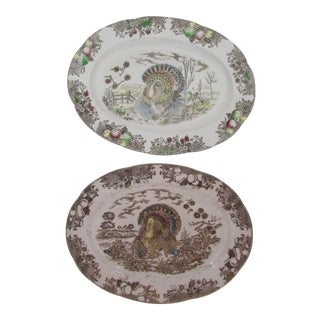 Brown Transferware Turkey Platters- 2 Pieces For Sale