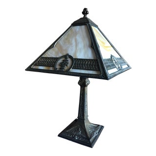 1910s Antique Caramel Slag Glass Panel Table Lamp For Sale