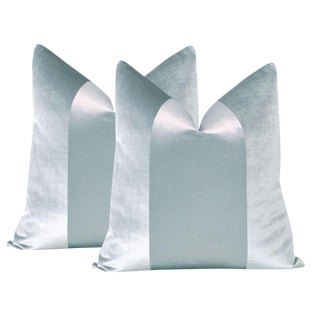 "22"" Pale Blue Velvet & Silk Panel Pillows - a Pair"