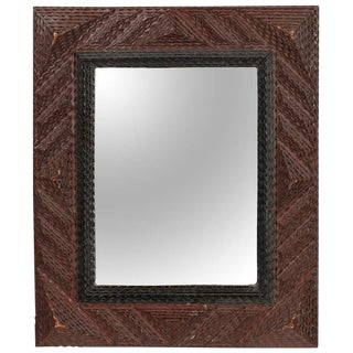 French Early 20th Century Rectangular Wooden Tramp Art Mirror with Nice Detail