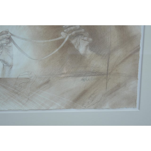 Set of Two Pencil and Charcoal Portraits For Sale - Image 9 of 11