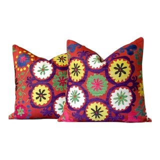 Red Suzani Square Pillow, Pair For Sale