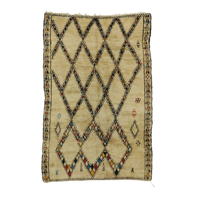 Mid-Century Modern Vintage Beni Ourain Moroccan Rug with Tribal Style For Sale