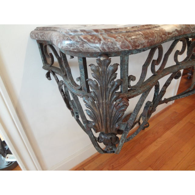 Brown French Regency Wrought Iron & Marble Console Table For Sale - Image 8 of 9
