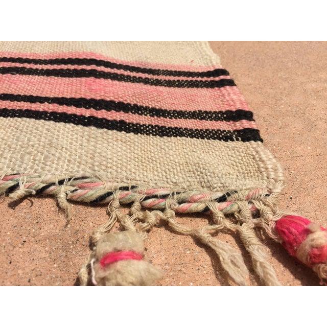 Vintage Moroccan Flat-Weave Stripe Tribal Rug For Sale - Image 9 of 10
