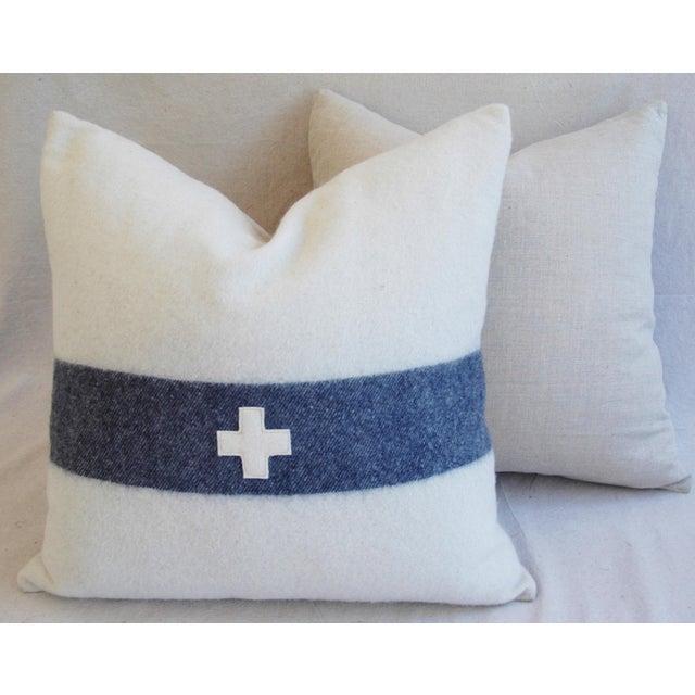 Nautical White & Blue Stripe Wool & Linen Pillows - a Pair - Image 9 of 10