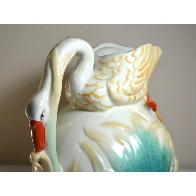 Turquoise Vintage Large Majolica Swan Shaped Pitcher For Sale - Image 8 of 11