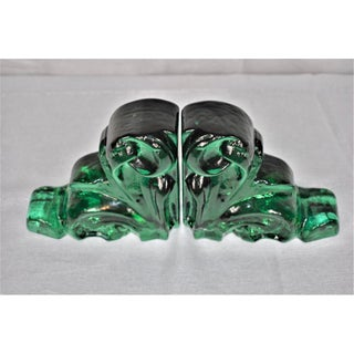 Green Glass Architectural Bookends - a Pair Preview