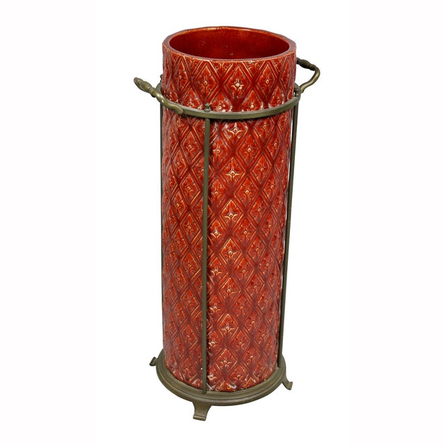 Red English Burmantofts Pottery and Brass Umbrella Stand For Sale - Image 8 of 8
