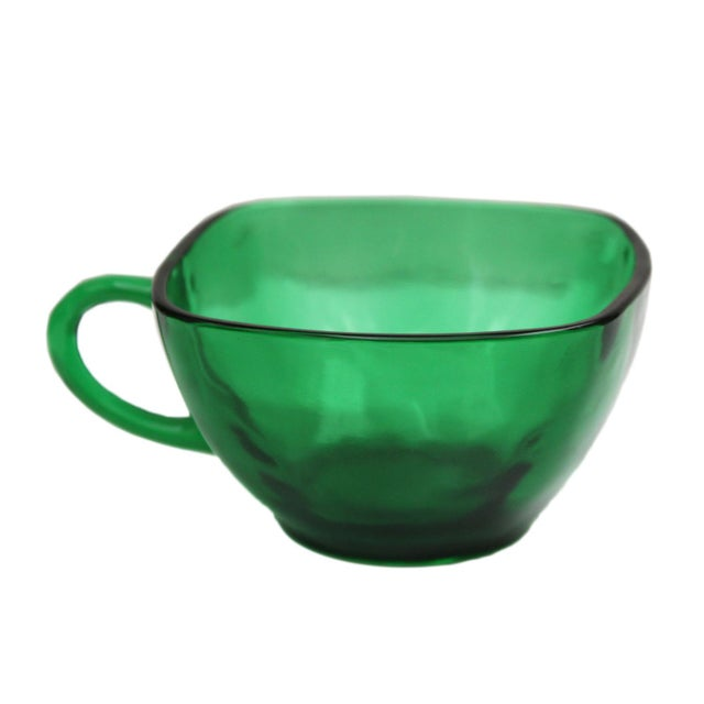 Emerald Green Tea Cups - Set of 4 For Sale - Image 5 of 5