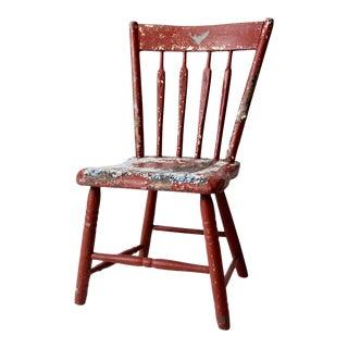 Antique Primitive Plank Seat Chair For Sale