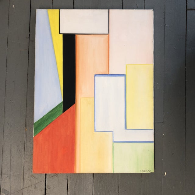 1970s Original Vintage Geometric Abstract Signed Painting For Sale - Image 5 of 5