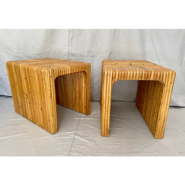 Vintage Split Reed Rattan Waterfall End Tables- a Pair For Sale - Image 12 of 13