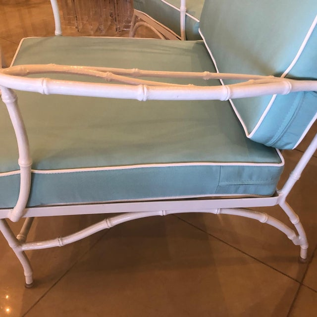 Vintage Sunbrella Faux Bamboo Powder-Coated Metal Lounge Patio Chairs - Set of 3 For Sale - Image 11 of 13