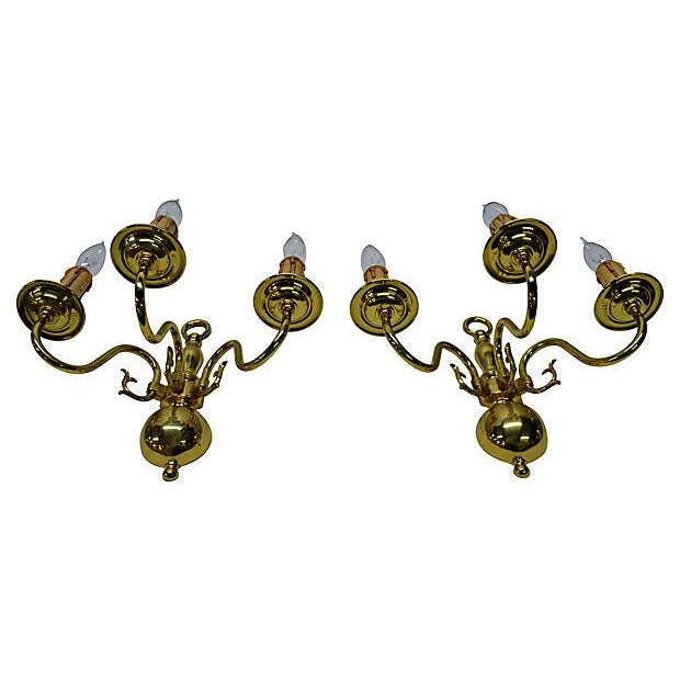Mid 20th Century Dutch-Style 3-Arm Brass Sconces - Pair For Sale - Image 5 of 5