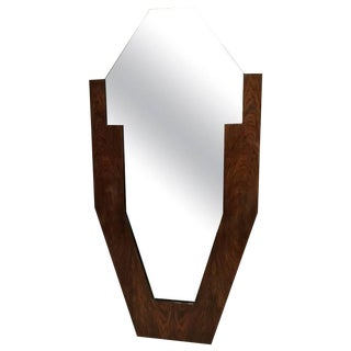 French Art Deco Walnut Standing Mirror For Sale