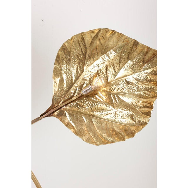 Gold 1 of 2 Huge Three Rhubarb Leaves Brass Floor Lamp by Tommaso Barbi For Sale - Image 8 of 13