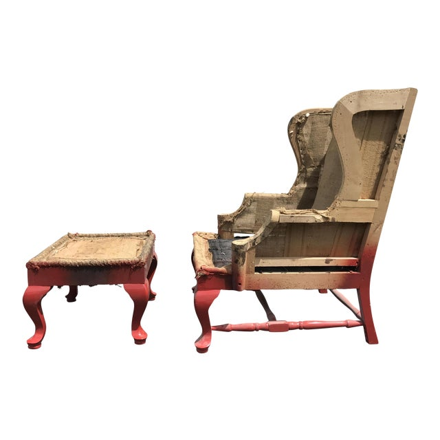 19th C. Walnut Wingback Armchair & Ottoman Frame - A Pair - Image 1 of 9