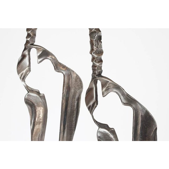 Set Two Cast Aluminum Modernist Abstract Sculptures For Sale - Image 9 of 11