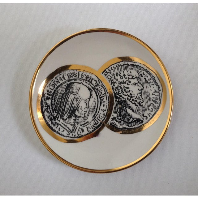 Contemporary Italian Porcelain Gilt Roman Coin Drinks Coasters - Set 6 For Sale - Image 3 of 11