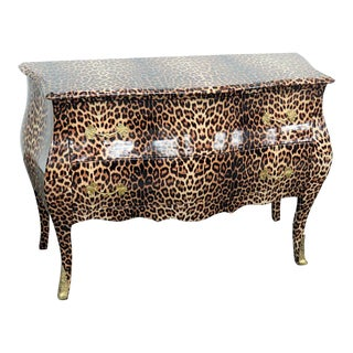 Rococo Style Leopard Print Bombe Commode For Sale