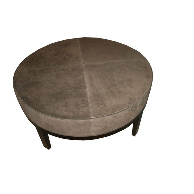 2010s Customizable Haller Walnut Base Round Ottoman For Sale - Image 5 of 8