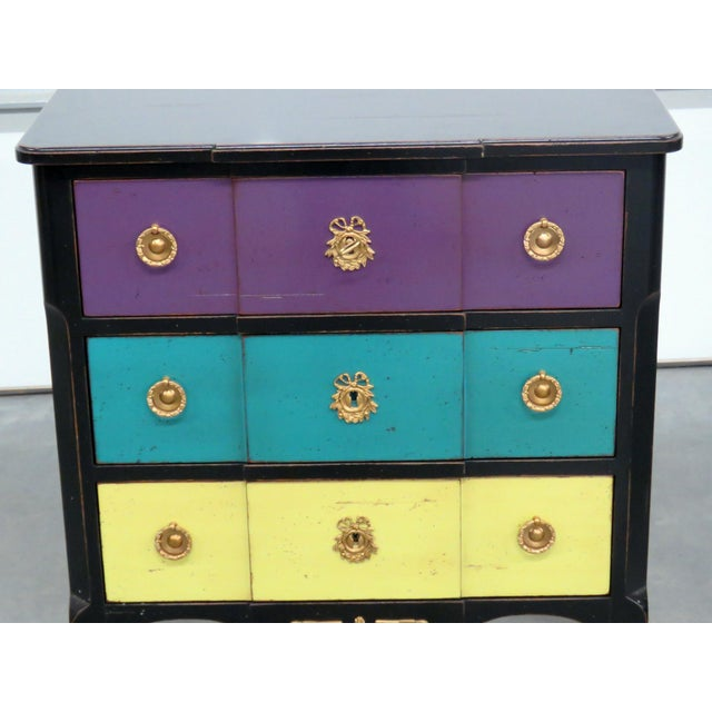 Hollywood Regency Roche Bobois Paint Decorated Commode For Sale - Image 3 of 11