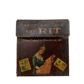 1920 Antique Rit Fabric Dye Tin Sign For Sale