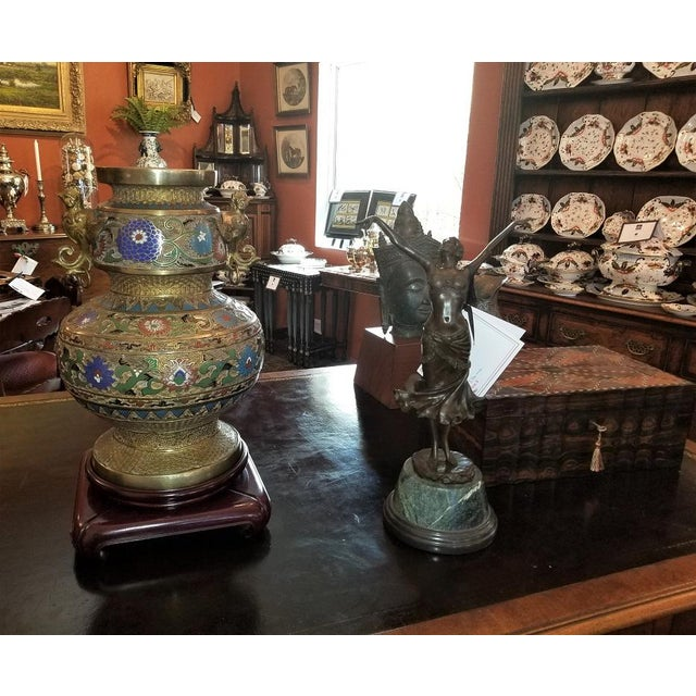 Metal Large Oriental Champleve Cloisonne Urn on Stand For Sale - Image 7 of 13