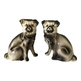 Mid 20th Century Staffordshire Style Porcelain Pug Dogs - a Pair For Sale