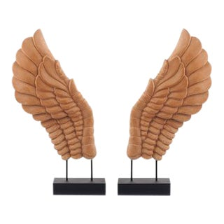 Wooden Décor Wings - A Pair For Sale