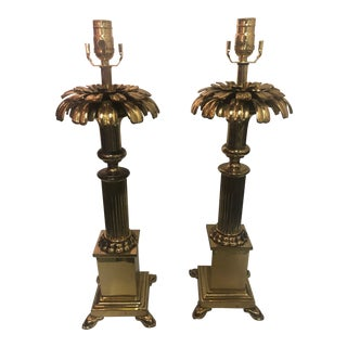 Vintage Hollywood Regency Chapman Solid Brass Table Lamps - a Pair For Sale