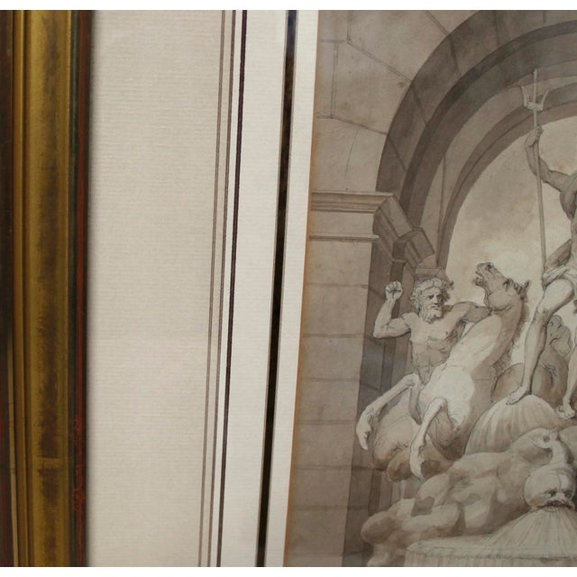 1838 Palazzo Torlonia, Rome Grisaille Neptune Fountain Watercolor Painting For Sale - Image 9 of 11