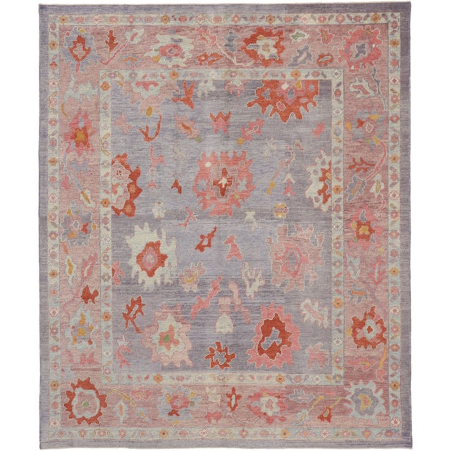 Contemporary Turkish Oushak Rug With Modern Colors - 8′ × 9′7″ For Sale - Image 9 of 9