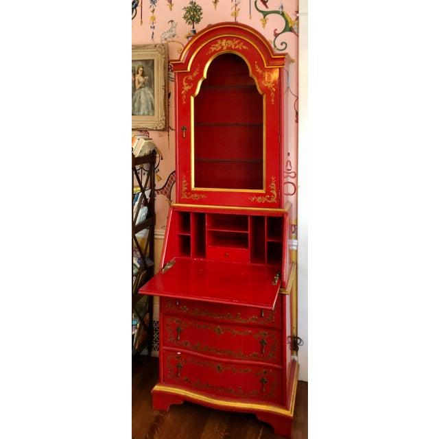 Red John Widdicomb Red Chinoiserie English Drop Front Secretary Bookcase For Sale - Image 8 of 8