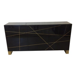 Modern History Black Lacquer and Brass Abstract Credenza For Sale
