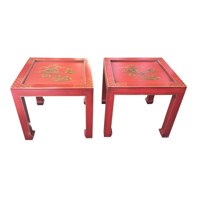 Hand Painted Chinoiserie Tables Signed Retha For Sale