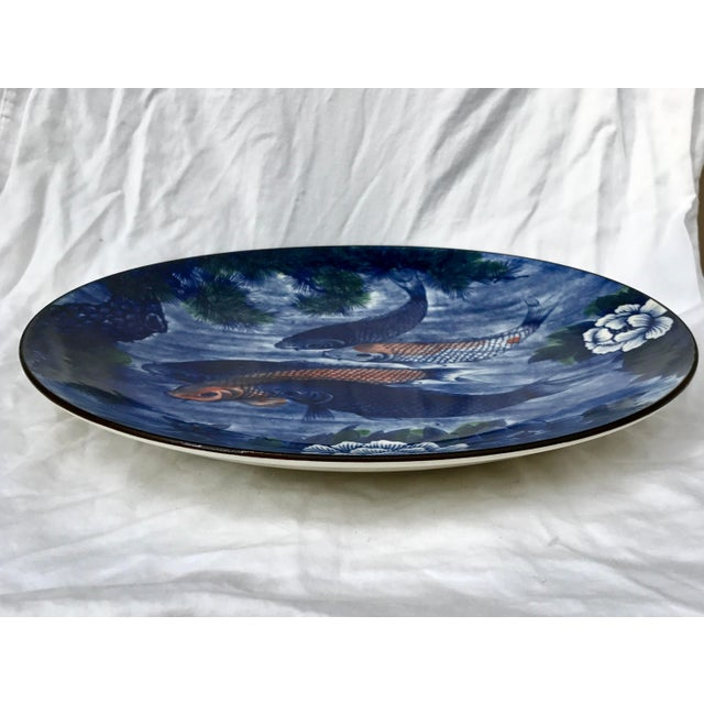 Vintage Hand Painted Asian Koi Fish Platter or Shallow Centerpiece Bowl For Sale - Image 4 of 7